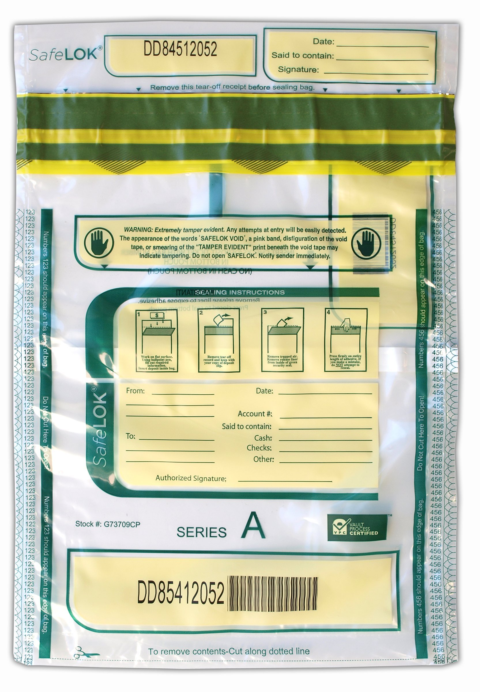 9 X 12 SafeLok, clear w/pocket, 100 Deposit Bags by Control Group (Image #1)
