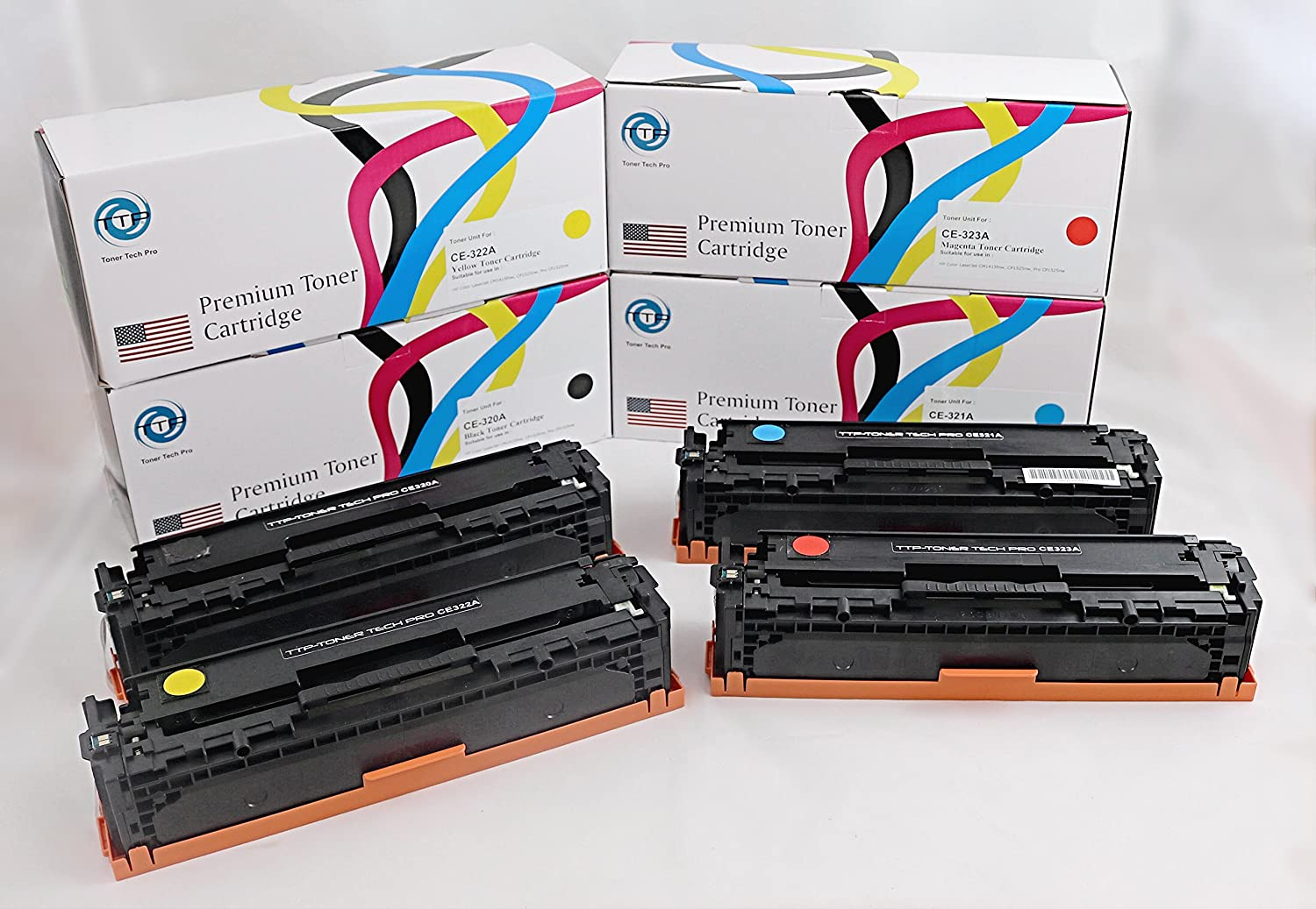 TTP Compatible Toner Cartridge Replacement for HP 128A ( Black,Cyan,Magenta,Yellow , 4-Pack )
