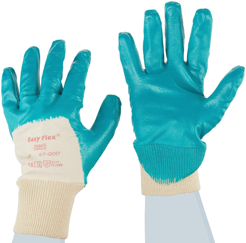 12 Paar pro Beutel Ansell Easy Flex 47-200 /Öl abweisende Handschuhe Gr/ün Gr/ö/ße 7 Mechanikschutz