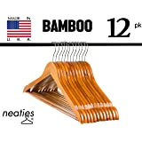 Cherry Bamboo Wood Hangers w/ Notches and Non-Slip Bar for Eco-Friendly Closet, Highest Quality Bamboo Hangers, Set of 12