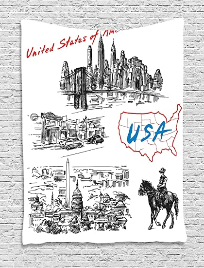 Hand Drawn Us Map.Amazon Com American Decor Tapestry Hand Drawn Usa Map And