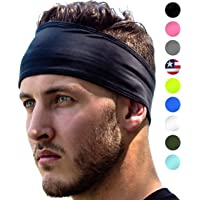 Sports Headbands: UNISEX Design With Inner Grip Strip to Keep Headband Securely in Place | Fits ALL HEAD SIZES | Sweat…
