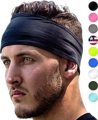 BIKER HEAD LINER Elastic  WIDE SweatBAND WARP BLACK
