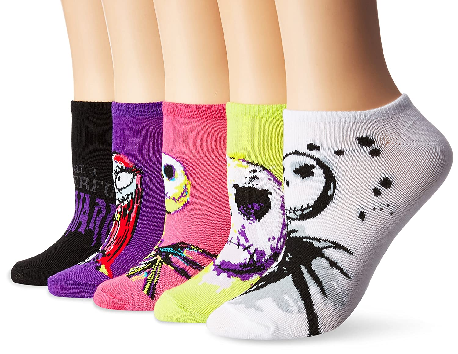 Disney Women\'s Nightmare Before Christmas 5-Pack No Show Socks