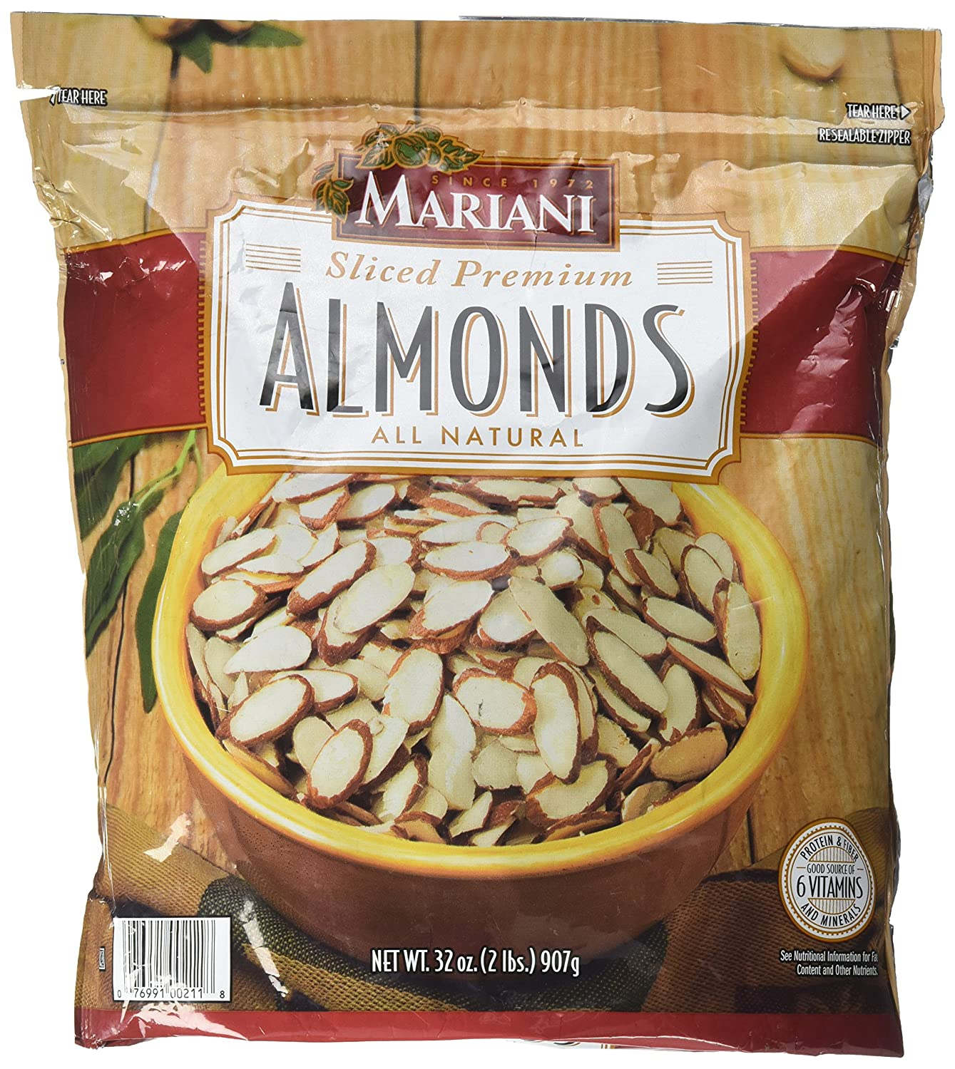 Mariani Sliced Premium Almonds All Natural, 2lbs (2 Packs)