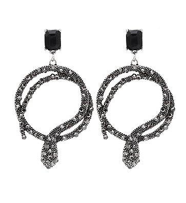 6b2cb3a59 Youmi Sexy Snake Dangle Drop Earrings Crystal Serpent Stud Earrings  Statement Hoop Earrings for Women (Silver): Amazon.co.uk: Jewellery