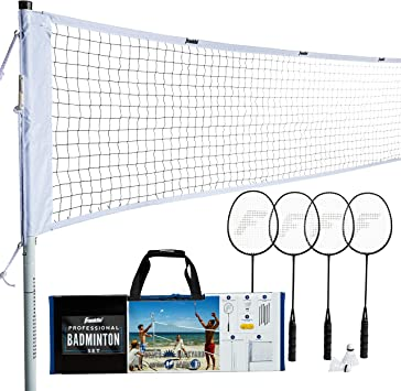 Professional Badminton Set With Poles 2//4 Player Racket Net Shuttlecock Outdoor