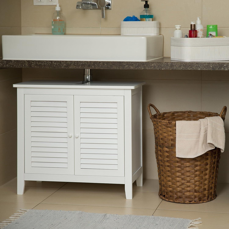 Relaxdays Waschbeckenunterschrank weiß LAMELL, Badschrank aus ...