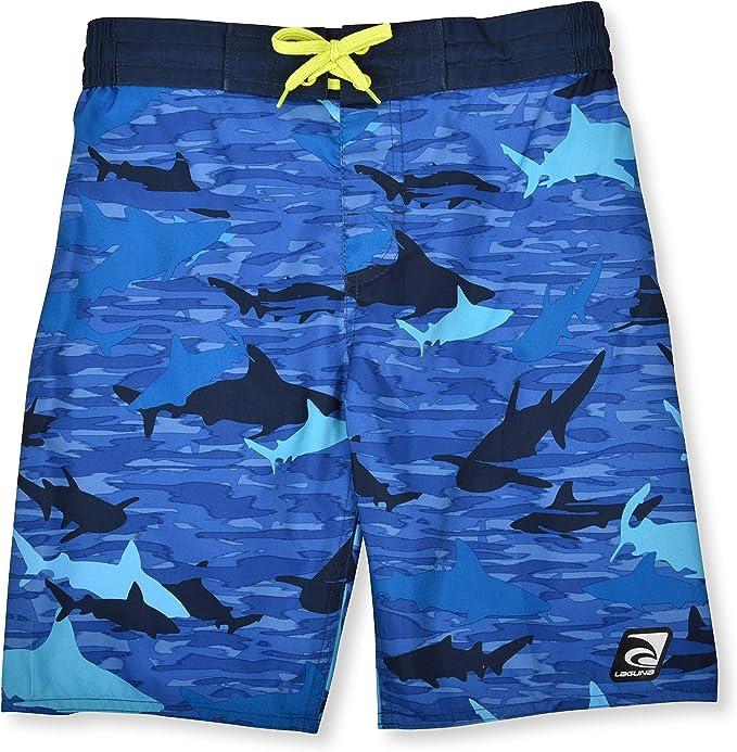 Swim Set with Short Sleeve Rashguard Sun Shirt and Print Boardshorts LAGUNA Boys UPF 50