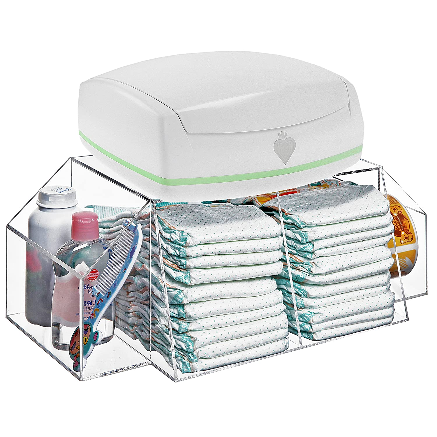 Amazon.com : Deluxe Clear Acrylic Baby Changing Table Top Diapers U0026  Accessories Storage Caddy / Baby Wipe Warmer Rack : Baby