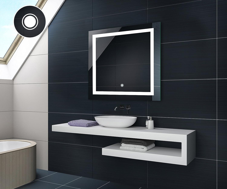 70 x 70 cm Illumination LED miroir sur mesure eclairage salle de bain | CARRÉ | INTERRUPTEUR TACTILE