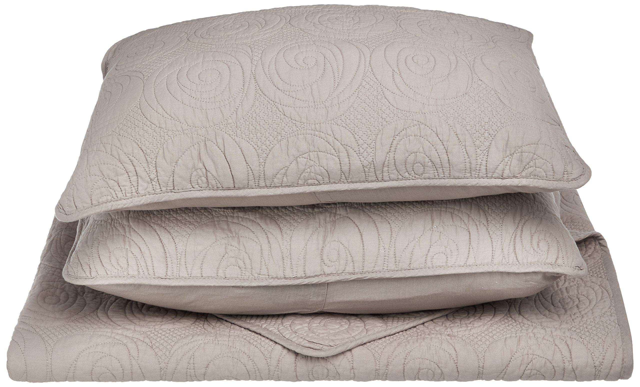 Superior 100% Cotton, Soft, 2-Piece Twin/Twin XL Channing Quilt Set, Grey