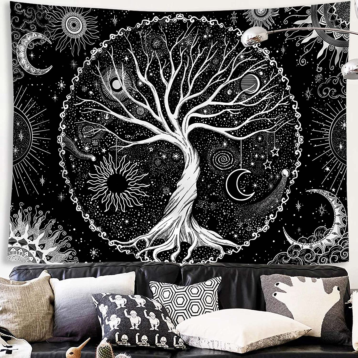 Spenlife Tree of Life Tapestry Black and White starry Tapestry Aesthetic Wall Hanging Tapestries Home Decor for Bedroom, Living Room, Dorm (60×80 Inches)