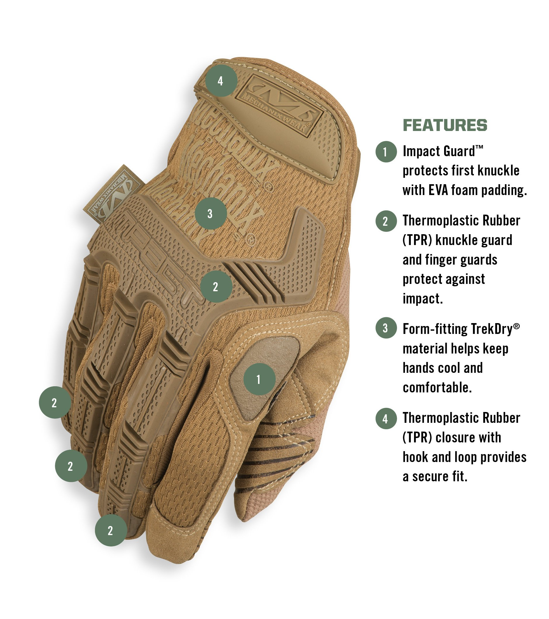 Mechanix Wear - M-Pact Coyote Tactical Gloves (Large, Brown) by Mechanix Wear (Image #2)