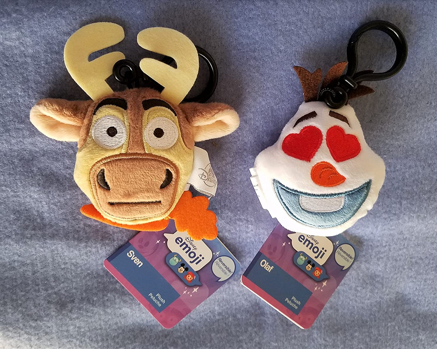 Amazon.com: Disney Frozen Reversible Plush Emoji Backpack Clip Keychain Set: Sven - Olaf: Toys & Games