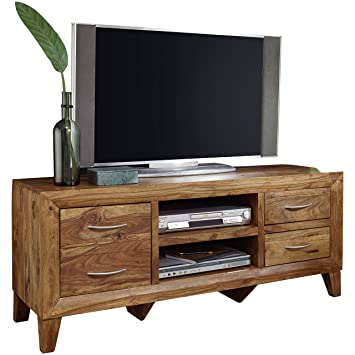 Finebuy Lowboard Massivholz Sheesham Kommode 135 Cm Tv Board Ablage
