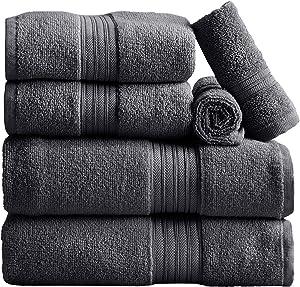 6-Piece Towel Set. 100% Cotton Bathroom Towels. Absorbent Quick-Dry Plush Towels. Set Includes 2 Bath, 2 Hand, and 2 Wash. Cooper Collection (6 Piece Set, Dark Grey)