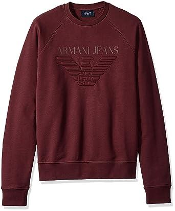 Armani Jeans Men s Regular Fit Fleece Pullover Crew Sweatshirt, Bordeaux,  XX-Large  Armani  Amazon.in  Clothing   Accessories 1286e2da28ec
