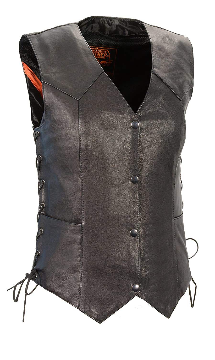 Milwaukee Women's Cowhide Leather Basic Vest with Side Laces (Black, XXX-Large) SH1227L-BLK-3X