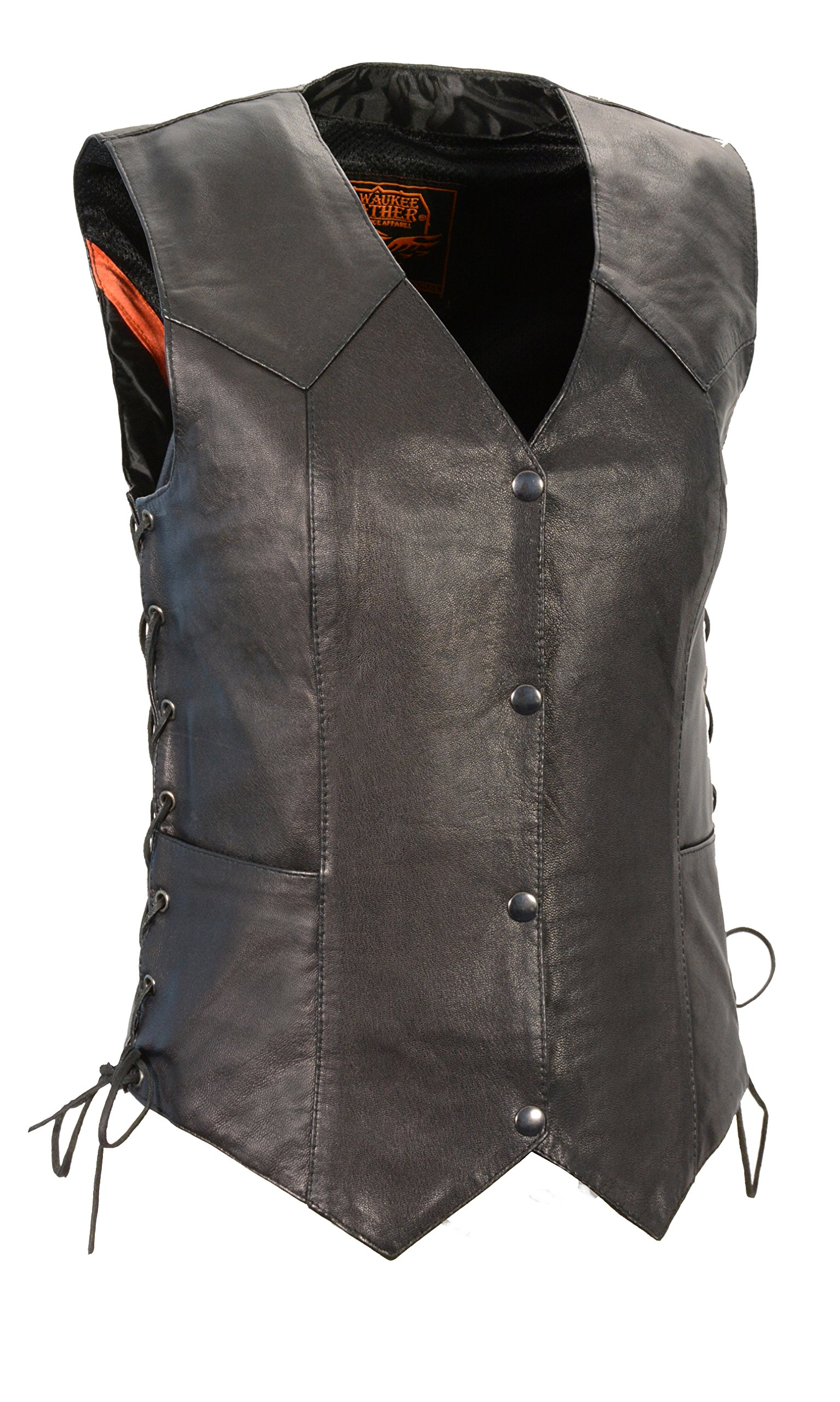 Milwaukee Women's Cowhide Leather Basic Vest with Side Laces (Black, X-Large)