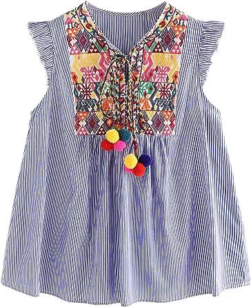 Floerns - Blusa para mujer, diseño mexicano, bordado, con volantes