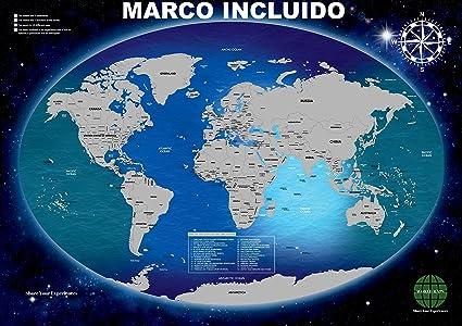Mapa Mundi Rascar Grande Con Marco Incluido Para La Pared. Producto Español. Diseño Deluxe. Rasca Las Ciudades A Las Que Viajes.