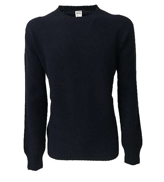 3f82a96412 ASPESI maglia uomo girocollo blu 100% lana scozzese MADE IN ITALY ...