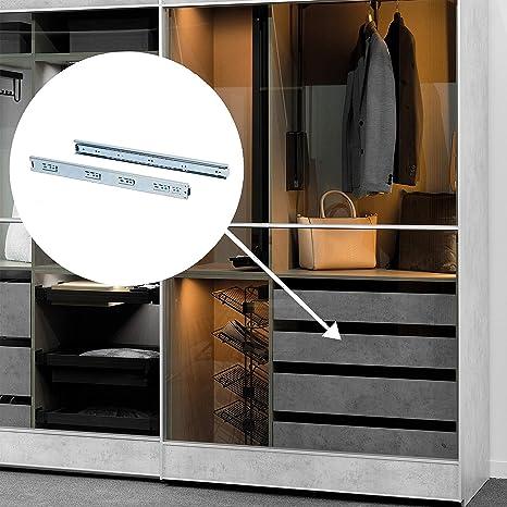 Emuca 3007505 Juego de guías correderas a bolas de extracción total 45mm x 500mm para cajón: Amazon.es: Bricolaje y herramientas