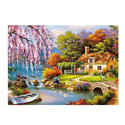 Holshop Jigsaw Micro-Sized Puzzles for Adults Puzzles Darrell Bush Canoe Lake 1000 Pieces Nature Funny Large Puzzle, Vintage Puzzles Rural Life Landscape Painting Puzzle: Toys & Games