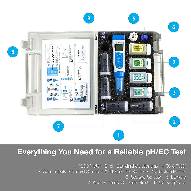 Multi-Parameter Pocket Tester Apera Instruments PC60 Premium 5-in-1 Waterproof pH//Conductivity//TDS//Salinity//Temp Replaceable Probe