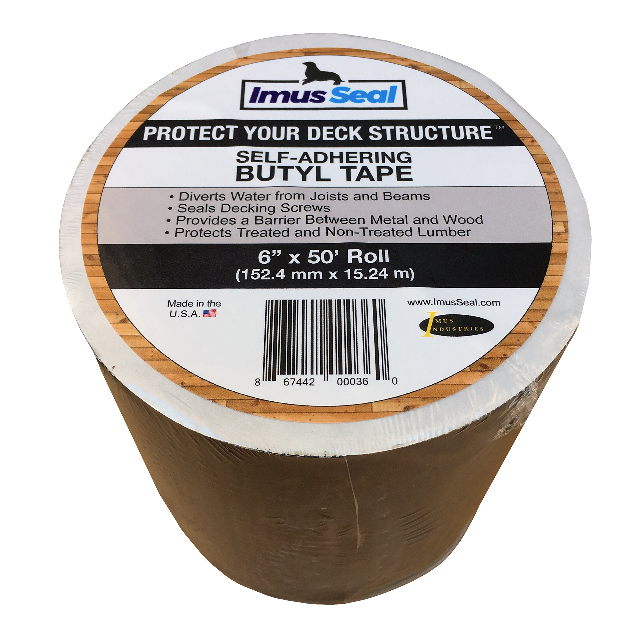Imus Seal Butyl Tape for Flashing Deck Joists and Beams (6'' x 50' Roll) by Imus Industries, Inc.