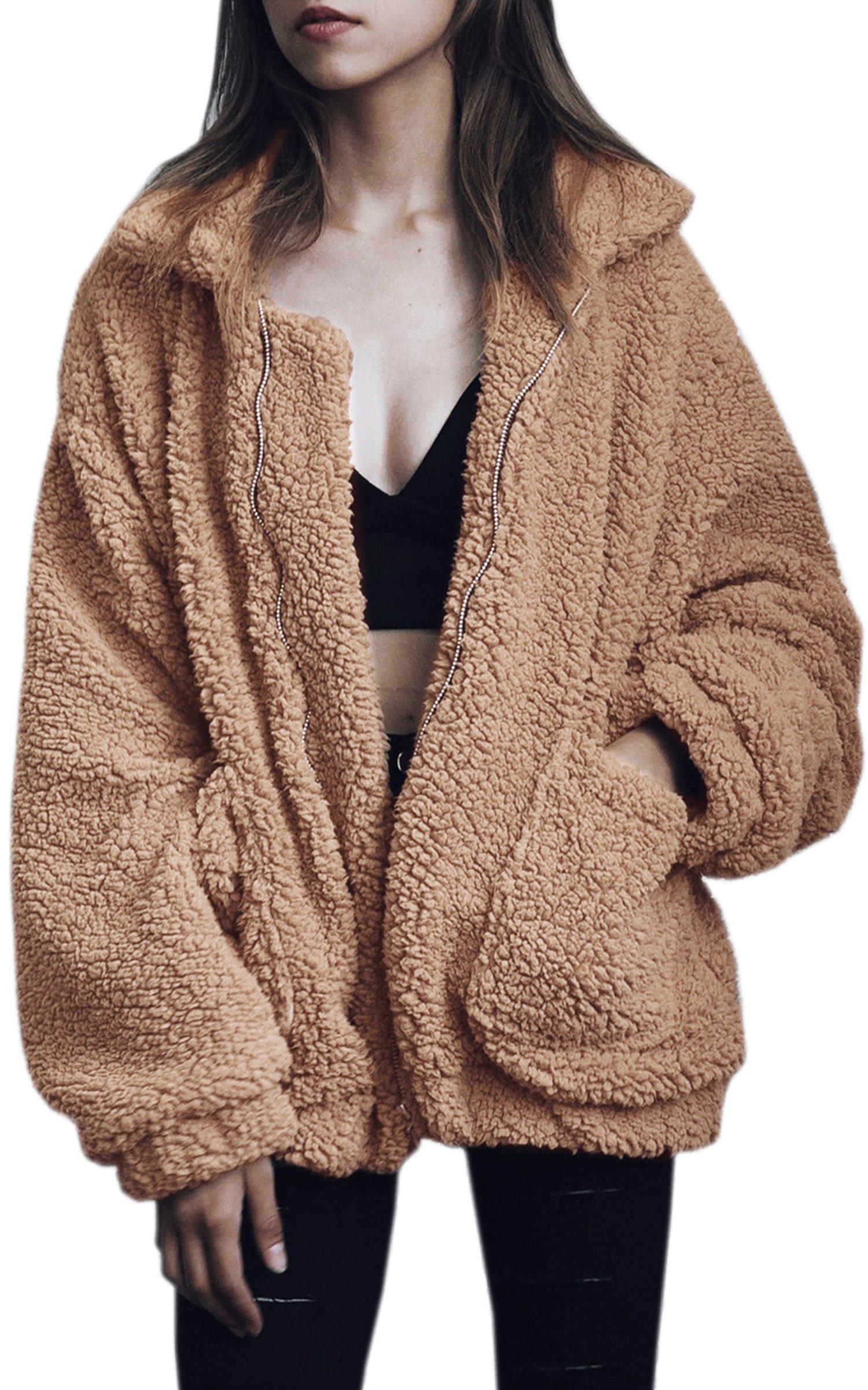 ECOWISH Women's Coat Casual Lapel Fleece Fuzzy Faux Shearling Zipper Warm Winter Oversized Outwear Jackets Camel M
