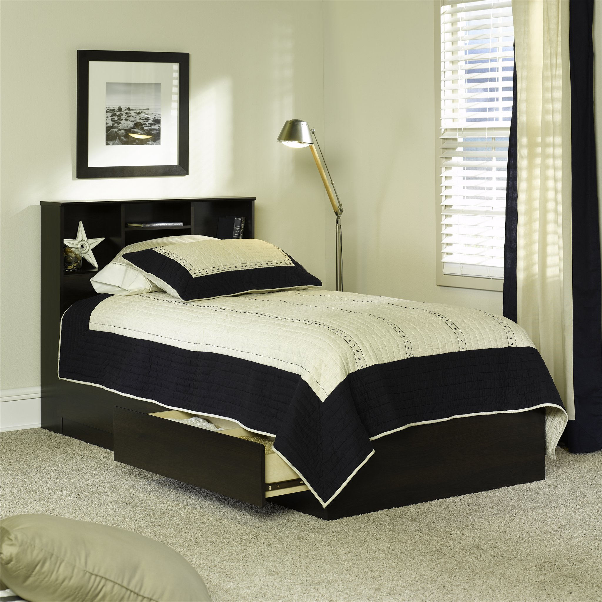 Twin Beds with Storage Espresso Finish Twin Storage Bed by Mainstay