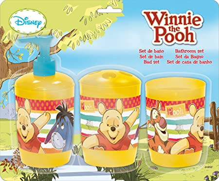 Disney Pooh Plastic Bath Accessory Set, Set of 3, Yellow and Red Bathroom Accessories & Organization at amazon