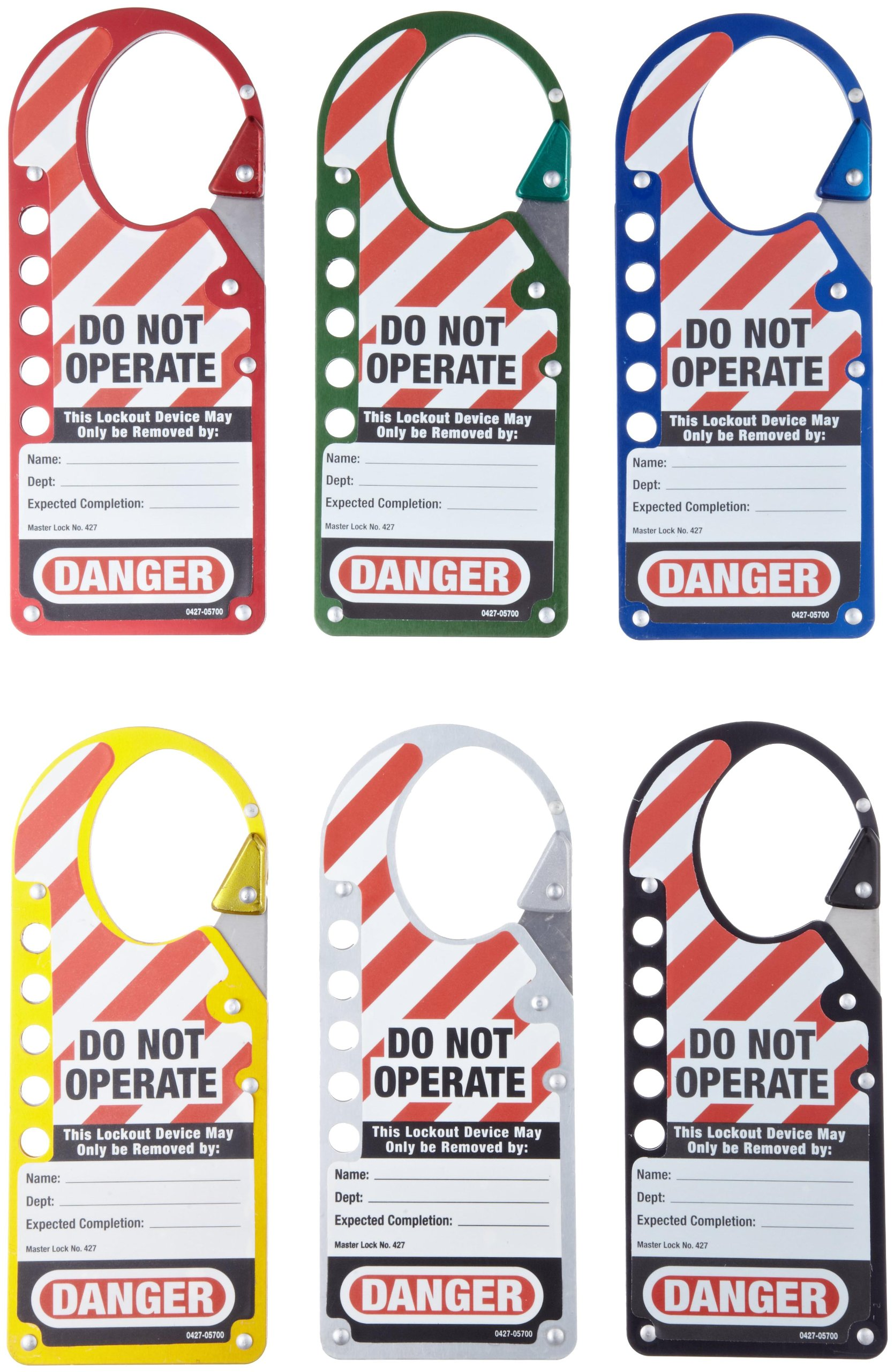 Master Lock Snap-On Lockout Hasp with Tag, 6 Assorted Colors