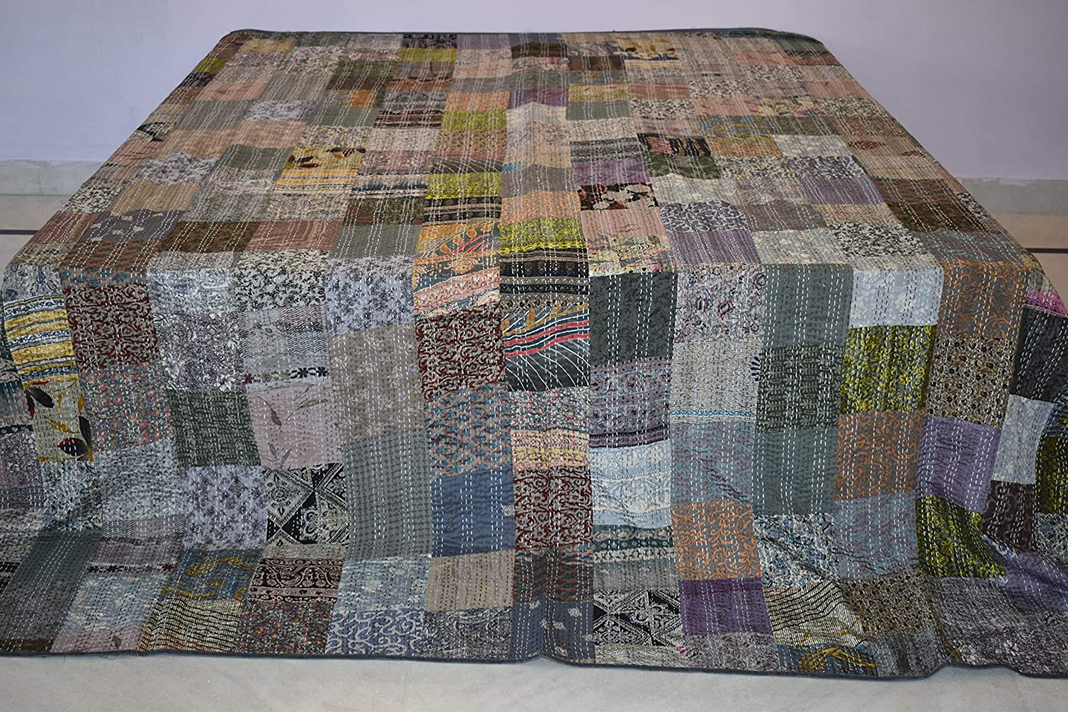King Indian Quilt Vintage Quilt Old Patola Indian Silk Sari Kantha Quilted BS-42