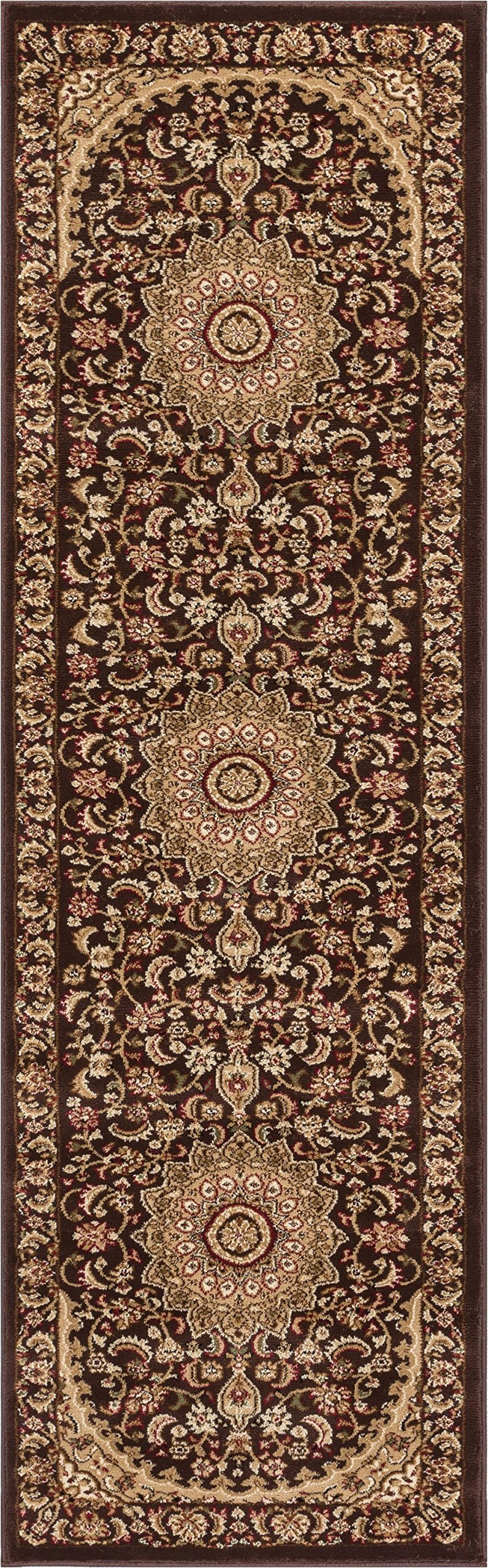 Sultan Medallion Brown Oriental 2 x 7 (2'3'' x 7'3'' Runner) Persian Floral Formal Traditional Area Rug Easy Clean Stain Fade Resistant Shed Free Modern Classic Contemporary Thick Soft Plush Rug