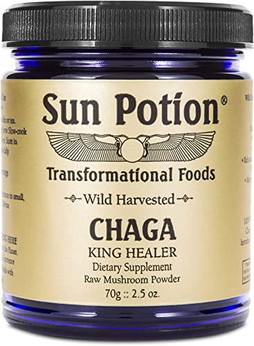 Chaga Mushroom Powder 70g Jar by Sun Potion – Wild Harvested, Organic, Raw Extract Superfood – Antioxidant Rich, Natural Immune Support, Detoxify the Body