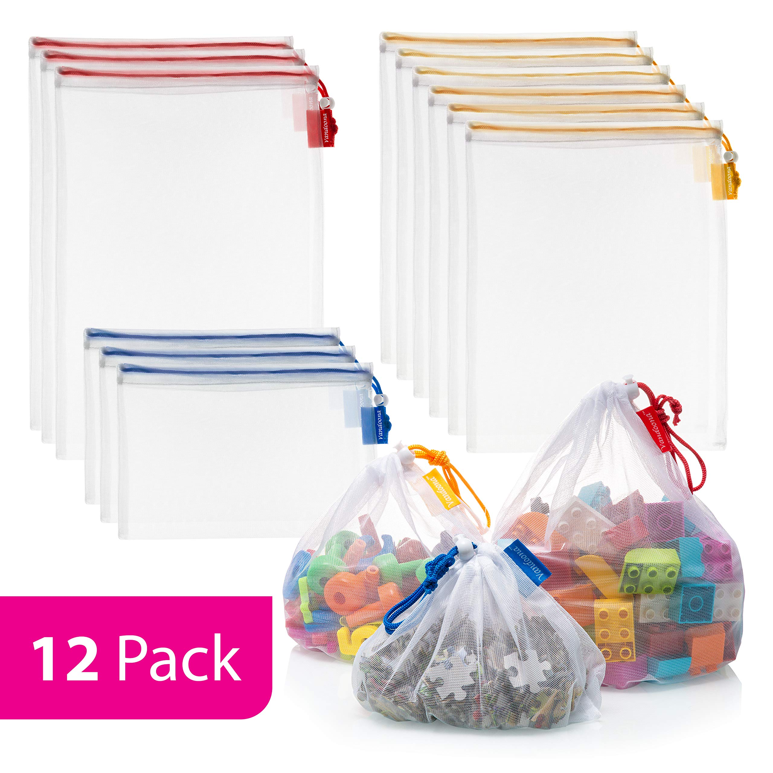 Vandoona Toy Storage & Organization Mesh Bags Set of 12 Eco Friendly Washable Mesh Bags & Color Coded Drawstrings by Size S, M, L. Playroom Organization, Baby Toys, Game Pieces, Toy Sets, Bathtub Toys by VANDOONA
