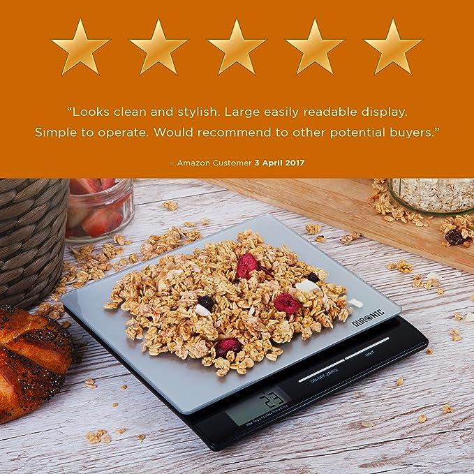 Duronic KS865 Báscula Cocina Digital 5 Kg de Cristal Balanza Cocina Peso Cristal: Amazon.es: Hogar