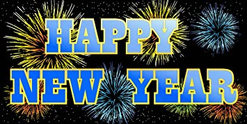 pre printed happy new year banner fireworks 6 x