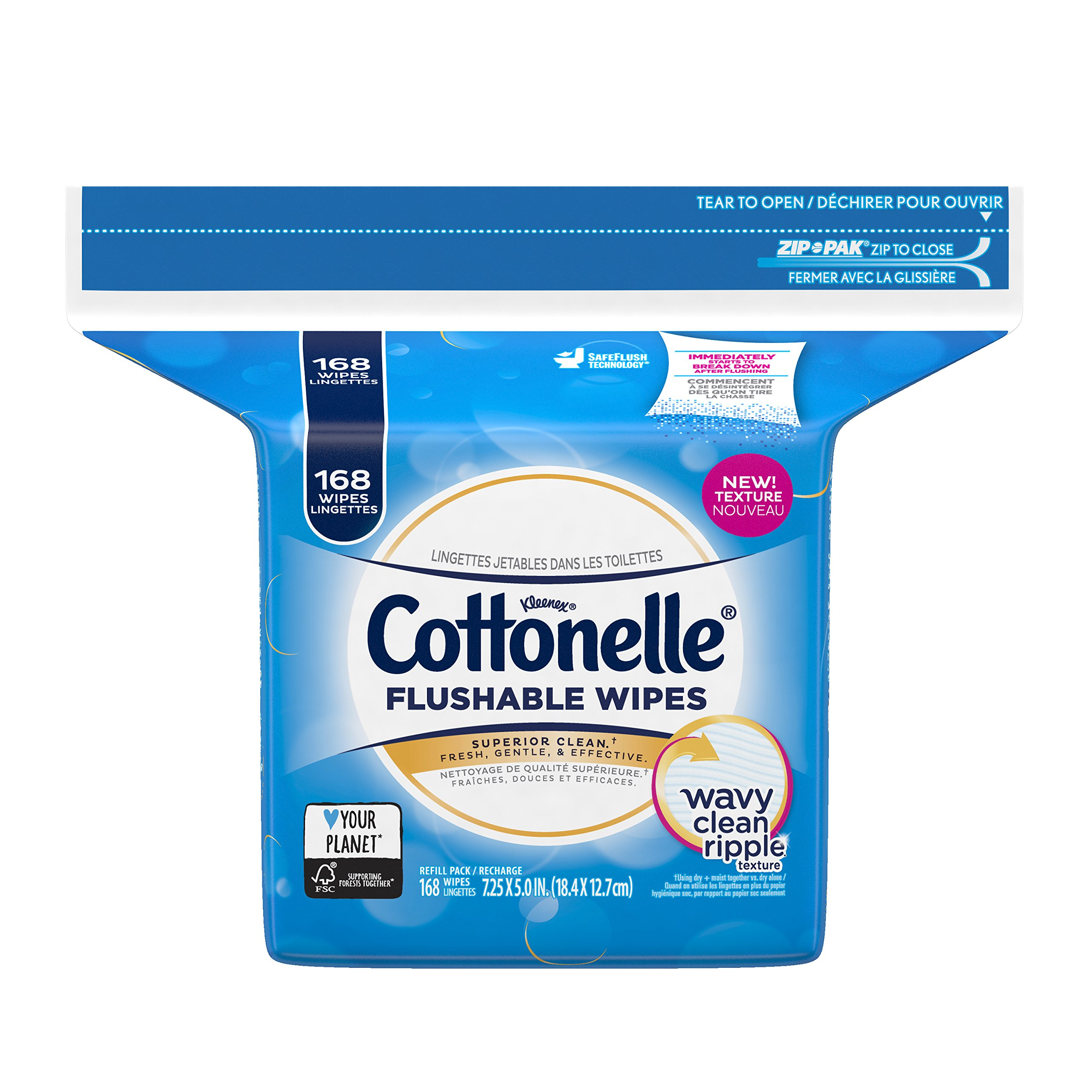 Cottonelle FreshCare Flushable Wipes Refill, 168 Flushable Wet Wipes (Packaging May Vary)
