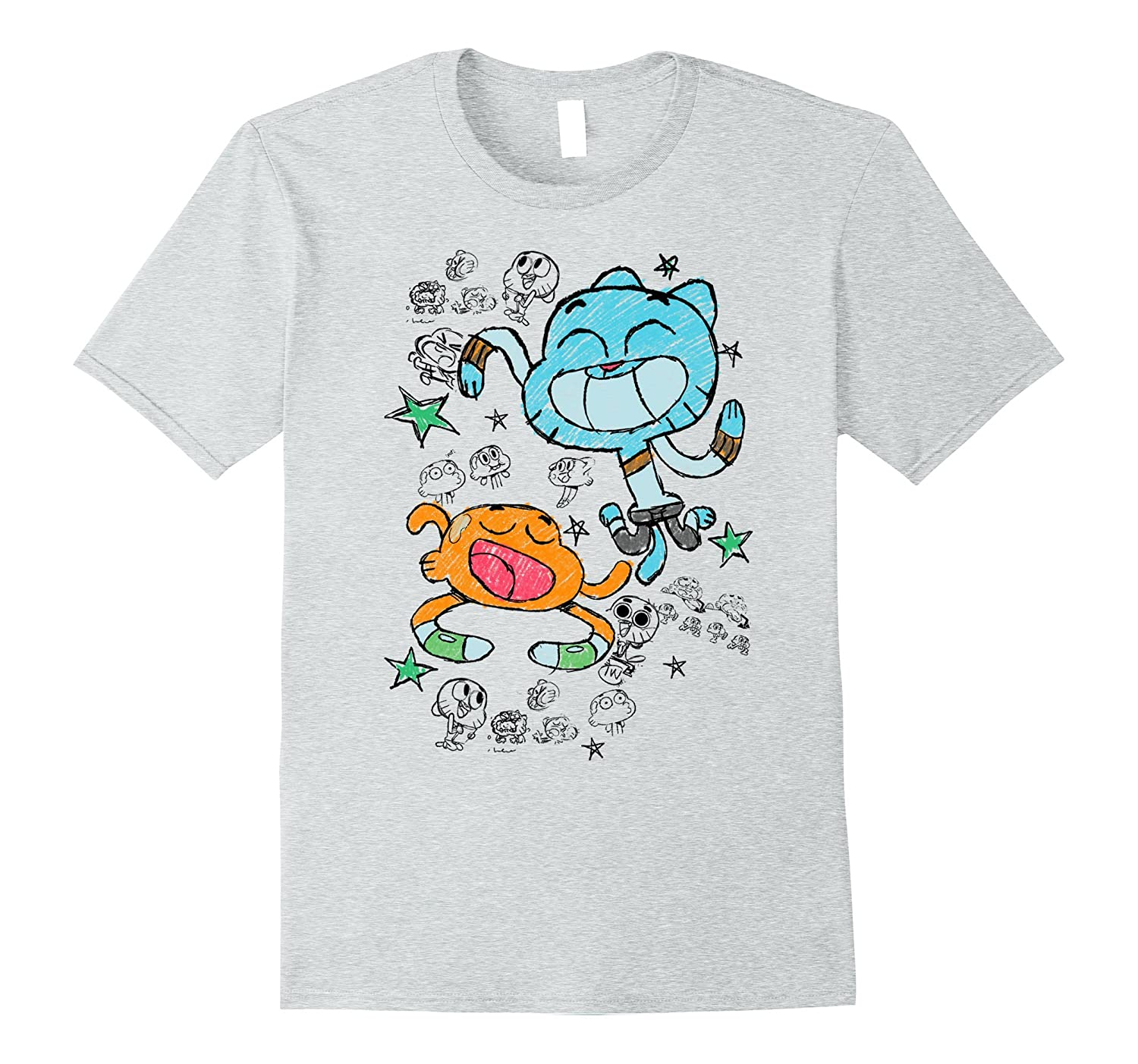 cfa3af107 CN Gumball Darwin Watterson Scribble Drawing Graphic T-Shirt-RT ...