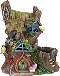 "Exhart Fairy House Planter, Solar Powered, Fairy Gardening, Resin, 11"" L x 7"" W x 13"" H"