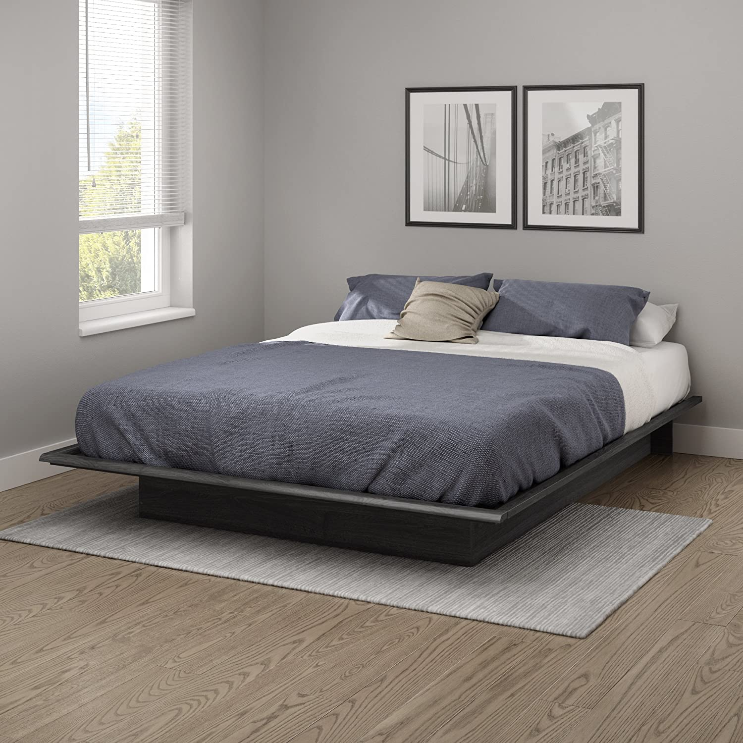 South Shore Step One Queen Platform Bed 60 , Gray Oak, 60 ,