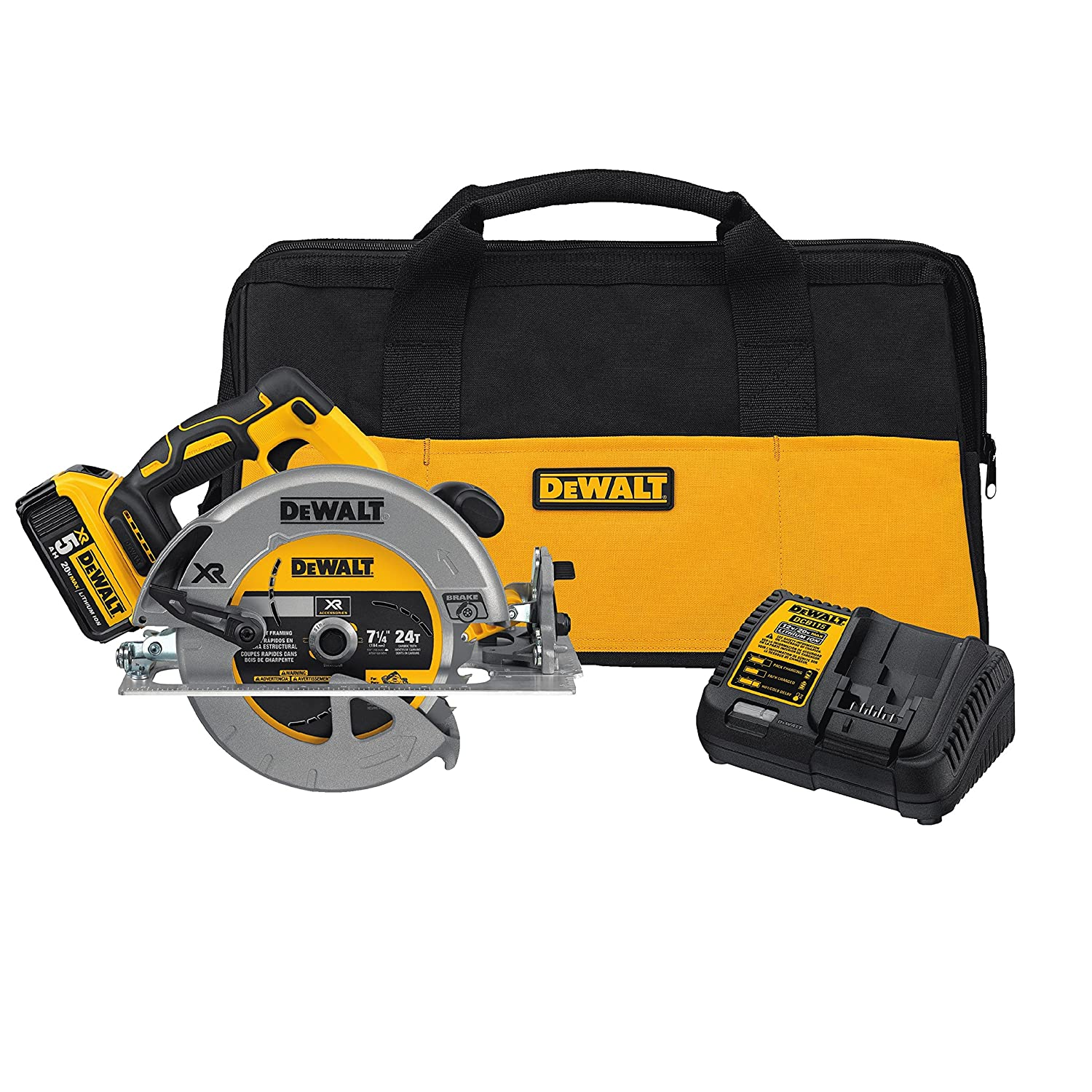 "DEWALT DCS570P1 7-1/4"" (184mm) 20V Cordless Circular Saw with Brake Kit"