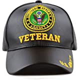 THE HAT DEPOT Official Licensed 3D Embroidered Soft Faux Leather Veteran Military Cap