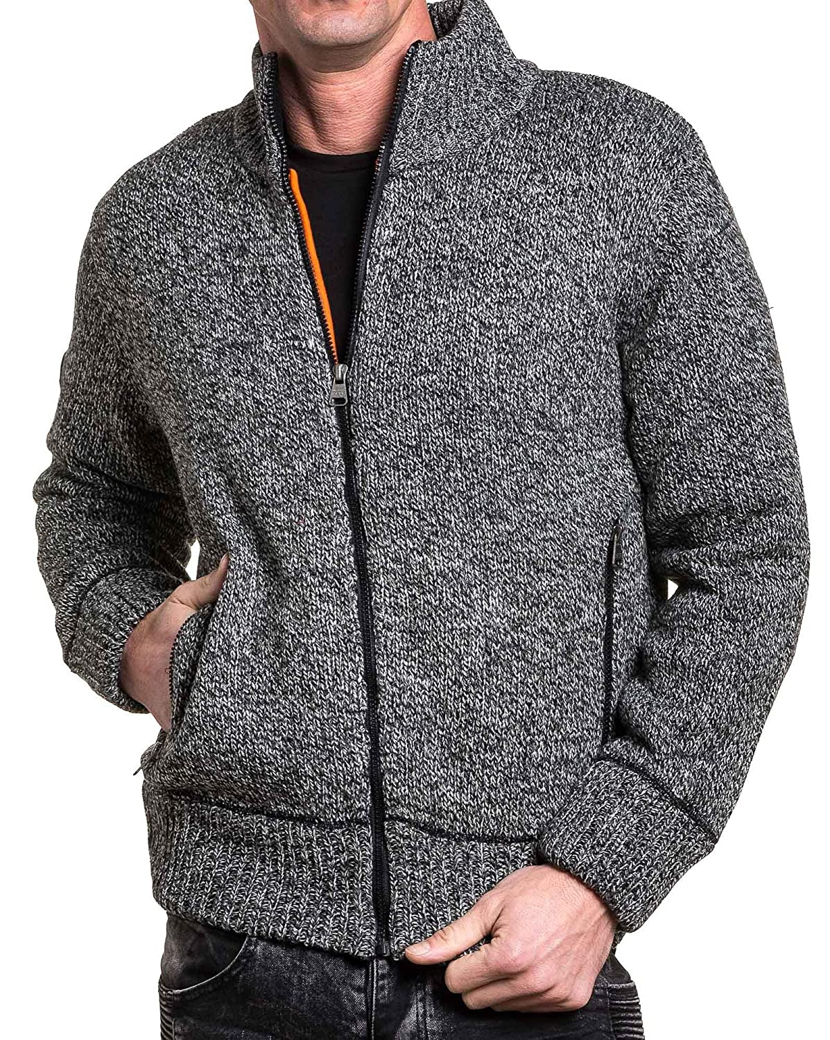 BLZ jeans - zipped jacket and gray ribbed man stuffed chine