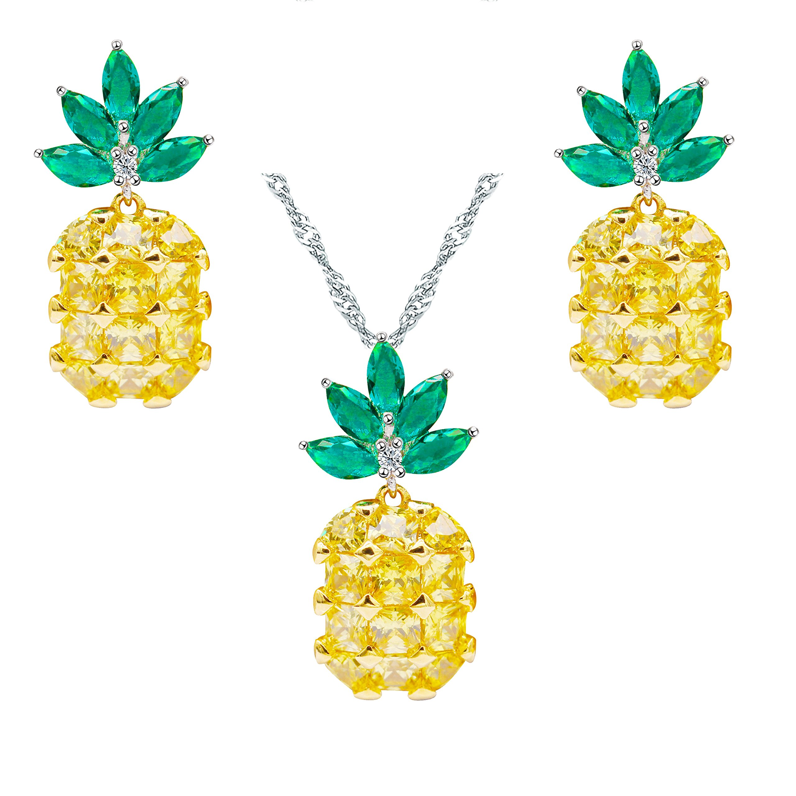 Uloveido Summer Pineapple Fruit Ananas Cute Jewelry Set with Yellow CZ Stone Necklace and Earrings Sets for Girls and Women PT001