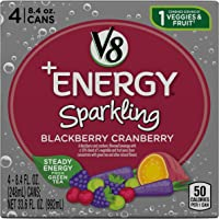 6-Pack of 4 Cans of V8 +Energy Sparkling Healthy Energy Drink, Natural Energy from Tea, Blackberry Cranberry, 8.4 Fl Oz